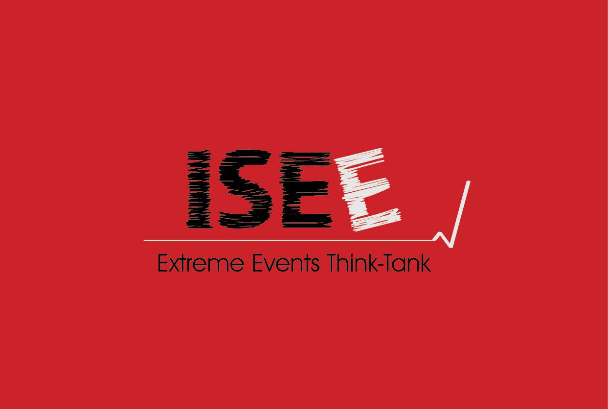 ISEE Logo V fundal rosu